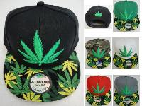 Snap-Back Flat Bill Hat [Marijuana Leaf] *Printed Bill